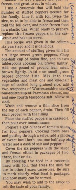 Instructions For Freezing Stuffed Peppers
