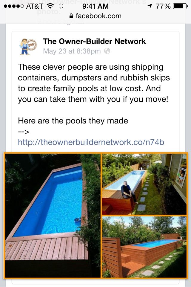 Storage container pool! | Home: Swimming Pools & Outdoor Living Ideas  640 x 960