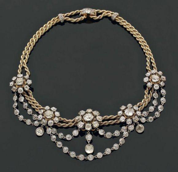 Antique diamond pendant : Antique diamond necklace estate
