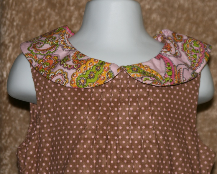 Peter pan collar dress with pink polka dots and pintucks by Paisley Lynne Boutique