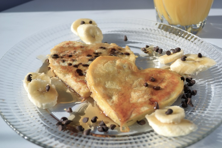 Heart-Shaped Chocolate Chip Banana Pancakes | Recipe