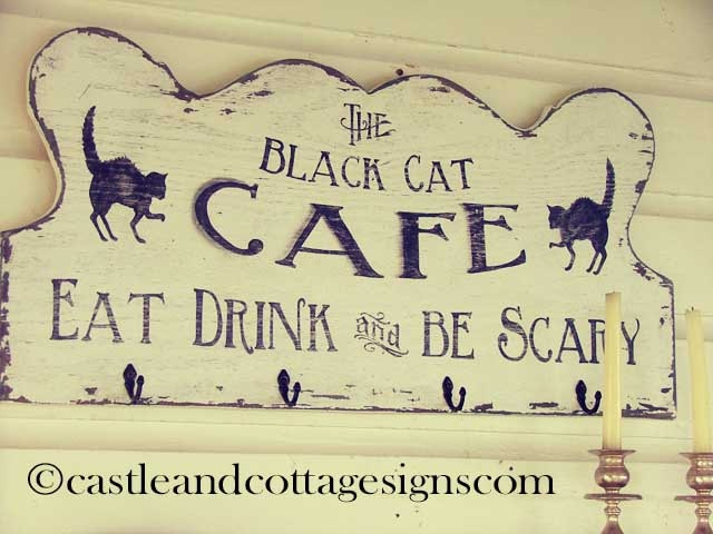The black cat cafe vintage sign handpainted halloween one of a kind