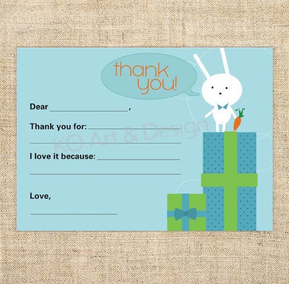Cute Printable Thank You Note Card Template for Boys and Girls... all ...