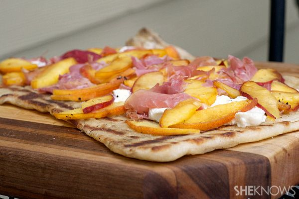 Grilled peach, proscuitto and goat cheese pizza
