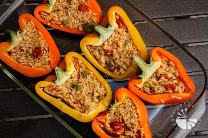 Rice Stuffed Bell Peppers (gluten-free, contains dairy) - Vegetarian ...