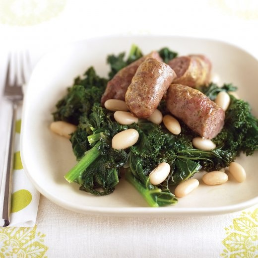 Sausages with Kale and White Beans | Recipe