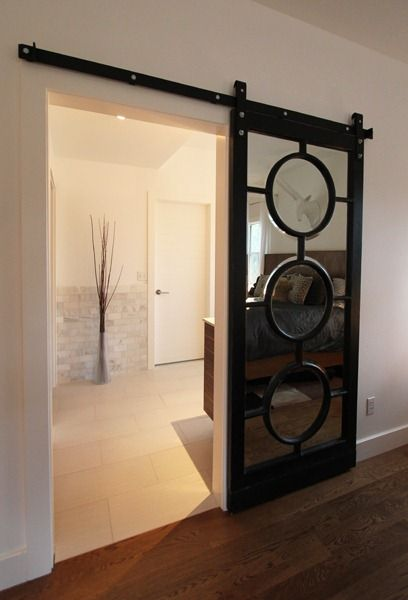 Mirrored sliding barn door dream home pinterest for Mirrored barn door