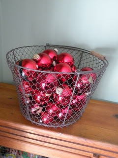 Basket full of red ornaments display
