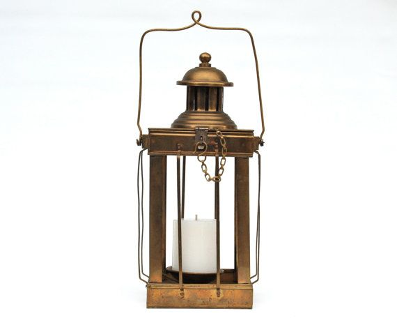 Brass Candle Lantern For Rustic Patio Or Garden Decor Vintage From I
