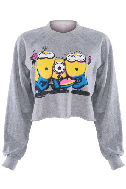 """The Minion of """"Despicable Me"""" Print Grey T-shirt"""