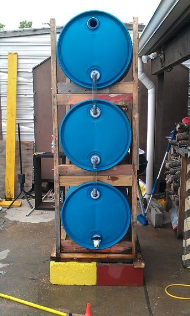 Triple rain barrel instructable build a home build a for How to build a rainwater collection system