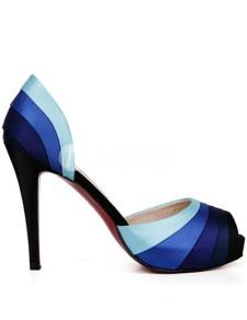 Unique Dark Blue 4 1/10'' High Heel Womens Peep Toe Shoes