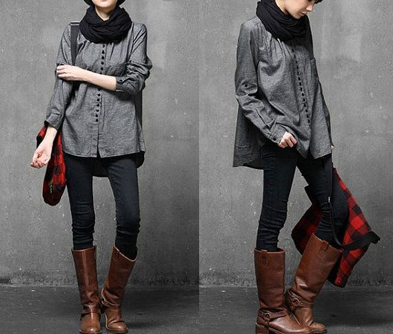 Grey Women Denim Shirt /Retro Dress/Long Sleeve Women ...