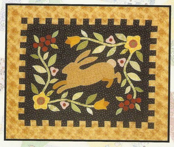 Primitive Folk Art Quilt Pattern Best Of All : Primitive Folk Art Quilt Pattern: HARE AFFAIR - Wall Quilt