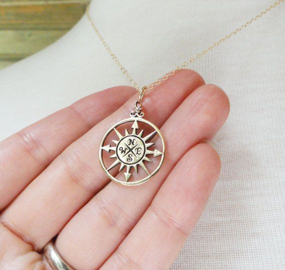 silver compass necklace friendship card compass charm