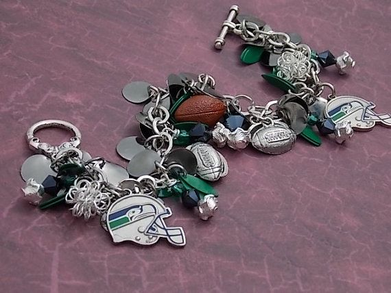 Seattle Seahawks charm bracelet with green by ForeverCharmingLLC, $37.99