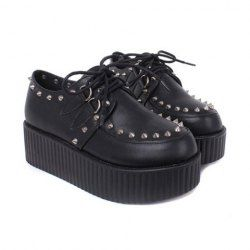 16.61 Stylish Women's Platform Shoes With Pointed Rivets and Lace-Up