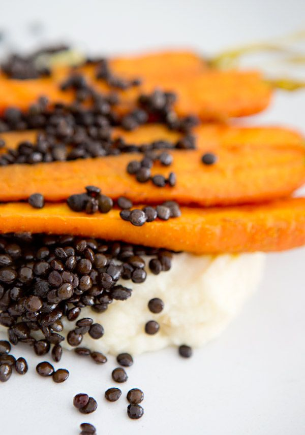 Parsnip Celery Root Mash with Beluga Lentils and Roasted Carrots - a ...