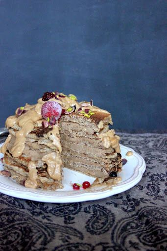 Pancake Tower Cake with Hazelnut Butter Drizzle Chestnut Cream Filling ...