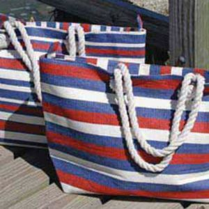 mens zip wallets Woven Paper Stripe Patriotic Tote  Red  White and Blue
