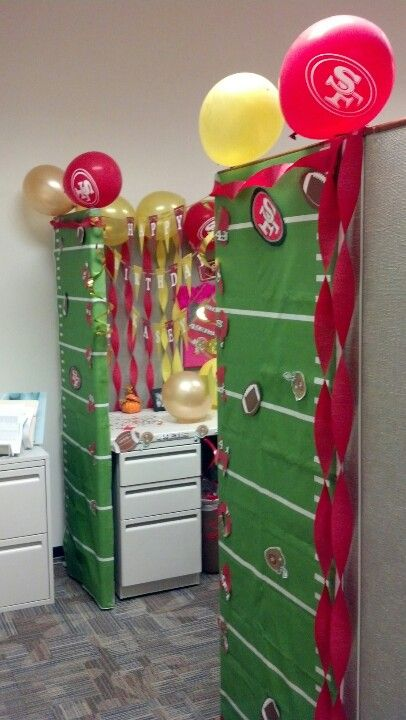 Cubicle b day decoration 49ers niners pinterest for B day party decoration ideas