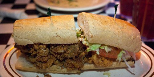 fried peace maker po'boy (fried oysters and shrimp), Acme Oyster House ...
