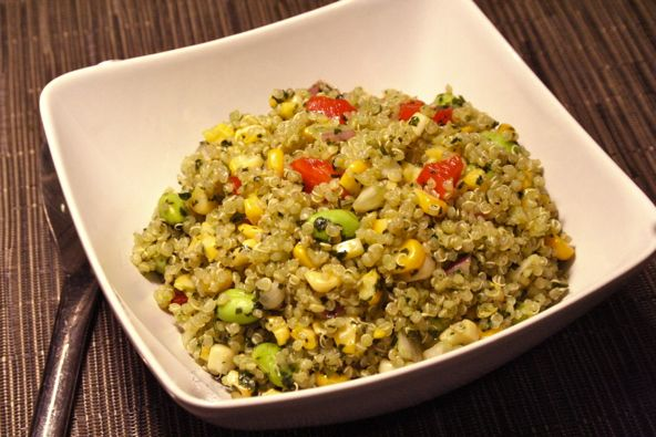 Quinoa, Roasted Corn and Edamame Salad Recipe [just used the dressing]