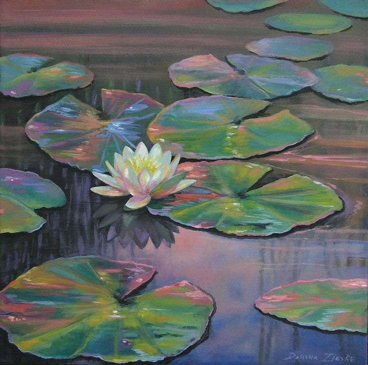 Pretty colors. Water lily painting | Art | Pinterest