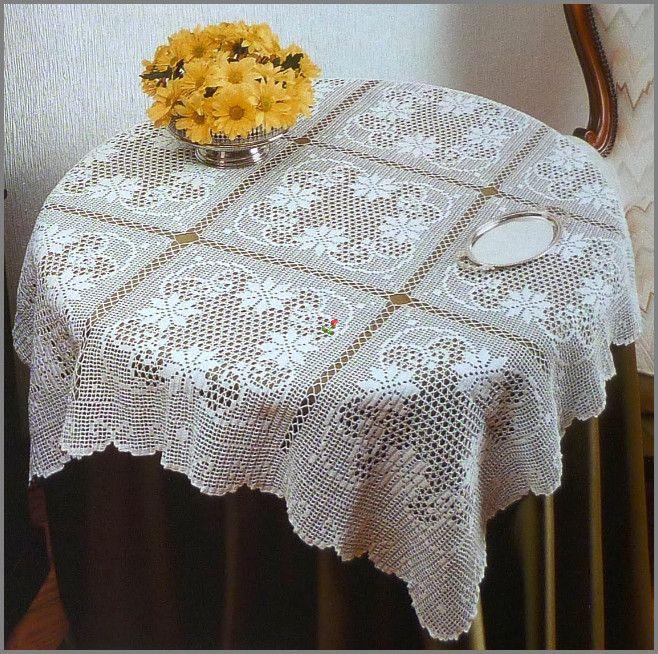 BIG SQUARE TABLECLOTH crochet. crochet Pinterest