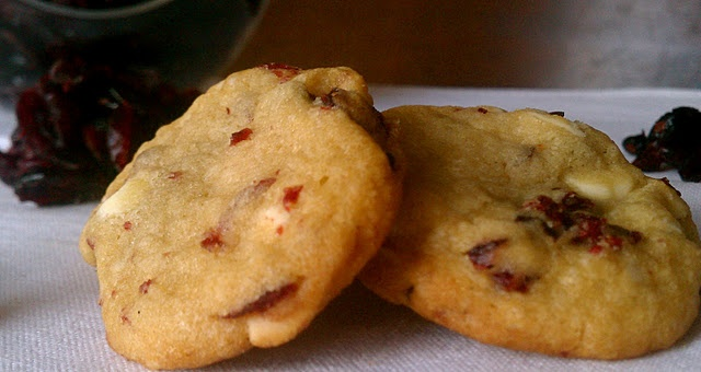 Almond Cookies With Cranberries & White Chocolate Recipe — Dishmaps