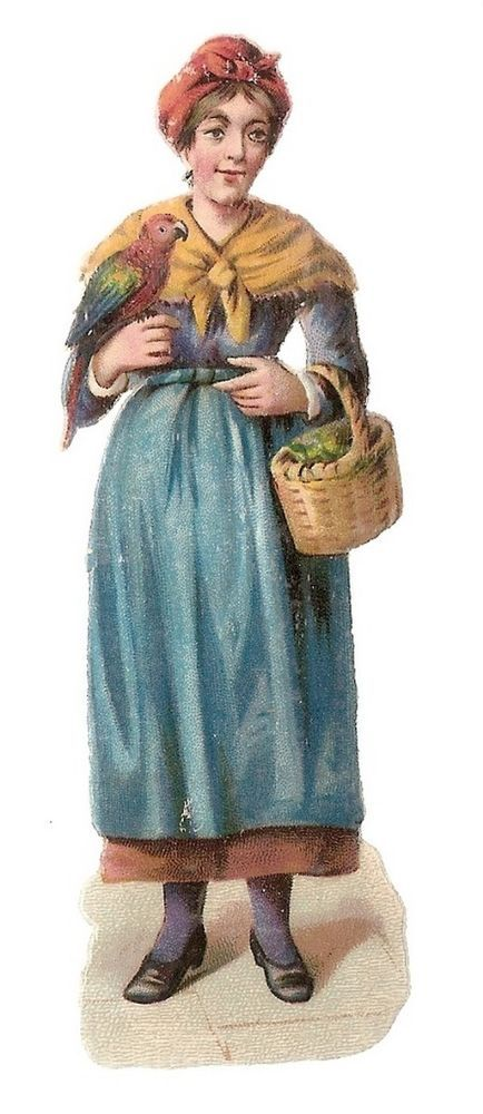 Jeune Femme - -  Perroquet Panier - Chromo Decoupi  - Victorian Scrap