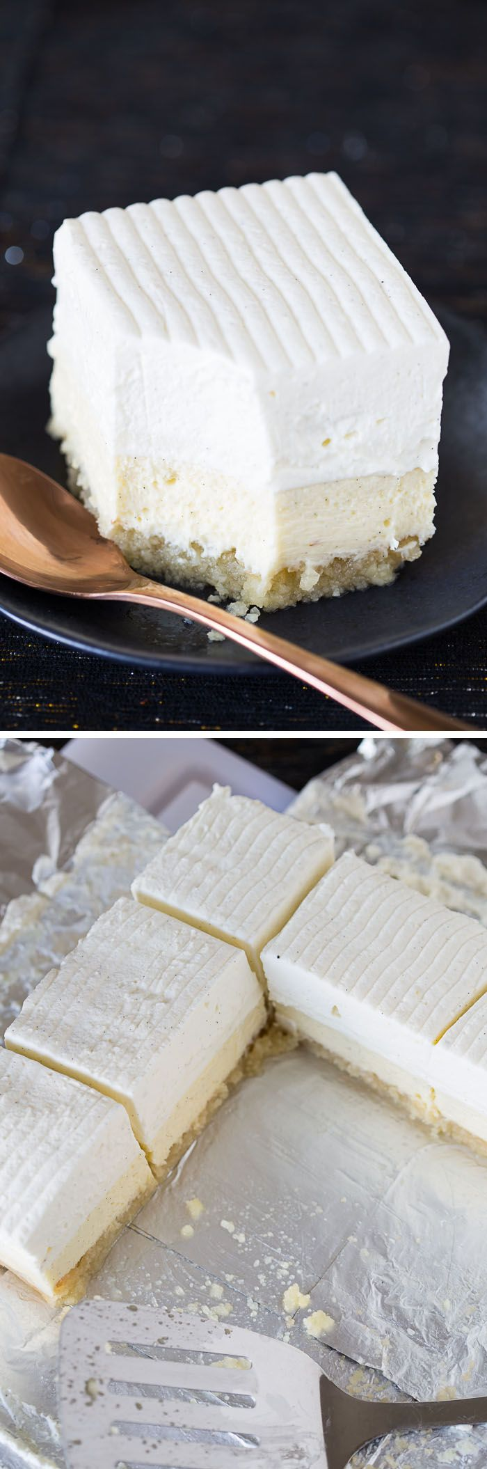 This recipe for Vanilla Bean Cheesecake bars on a buttery macadamia nut crust is easy, decadent, and delicious! A giant, beautiful