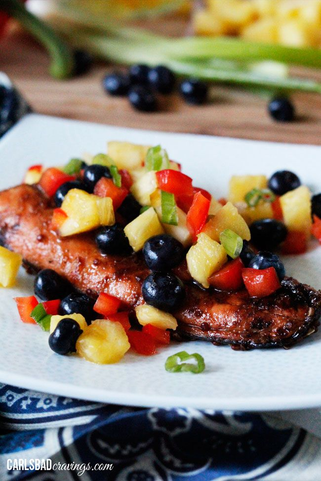 Sweet and Spicy Asian Salmon with Blueberry Pineapple Salsa | Recipe