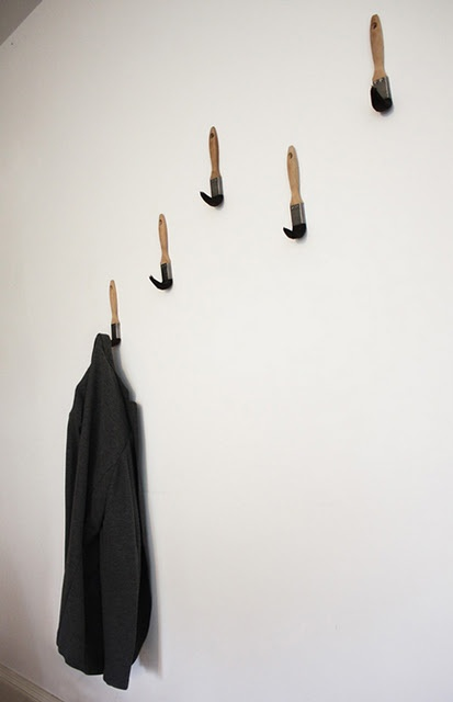 Cool Coat Hook Idea With Paint Brushes Random Paint