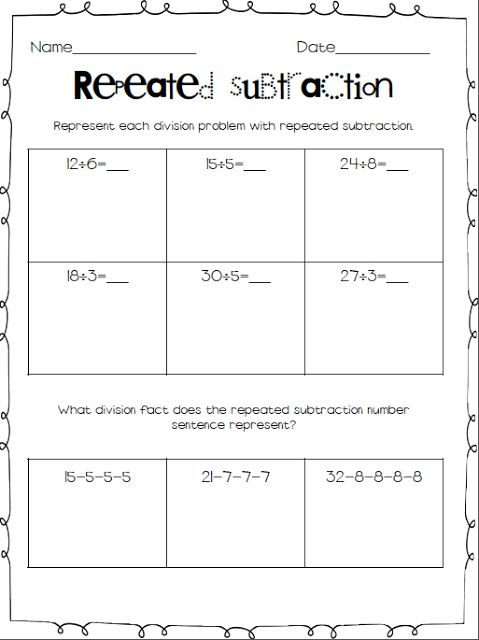 Repeated Subtraction Worksheets 3rd Grade submited images.