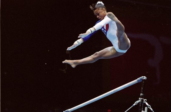 Flashback! Dominique Dawes of the USA in action in the womens individual all around final at the Georgia Dome at the 1996 Centennial Olympic Games in Atlanta Georgia.