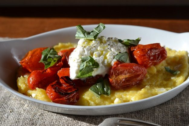 parmesan and corn polenta with roasted tomatoes and burrata