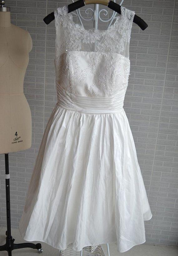 short ivory lace wedding dress