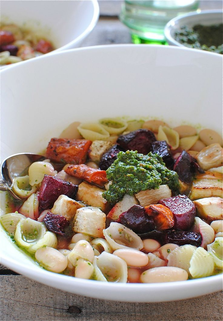 Roasted Vegetable and Pesto Minestrone | Soups | Pinterest