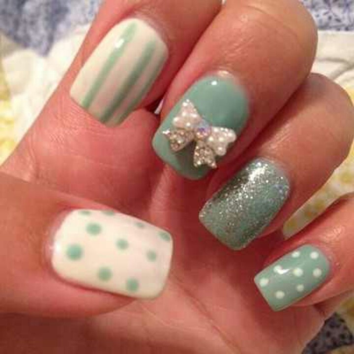 Cute white 3D bow on teal nails. | 3D Nail Art | Pinterest