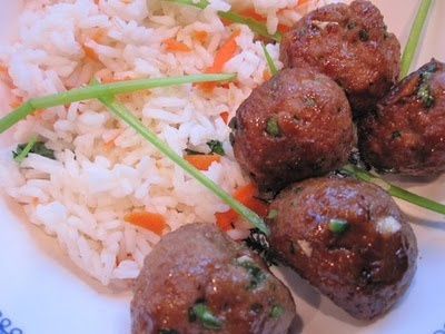 Stirring the Pot: Asian Turkey Meatballs with Carrot Rice