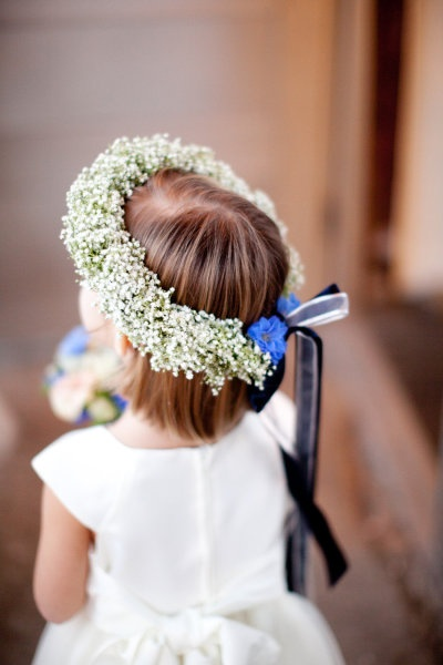 flower girl with flower crown halo of baby's breath