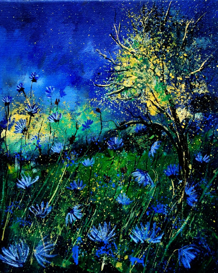 "Pol Ledent; Oil, 2012, Painting ""Wild cornflowers 452"""