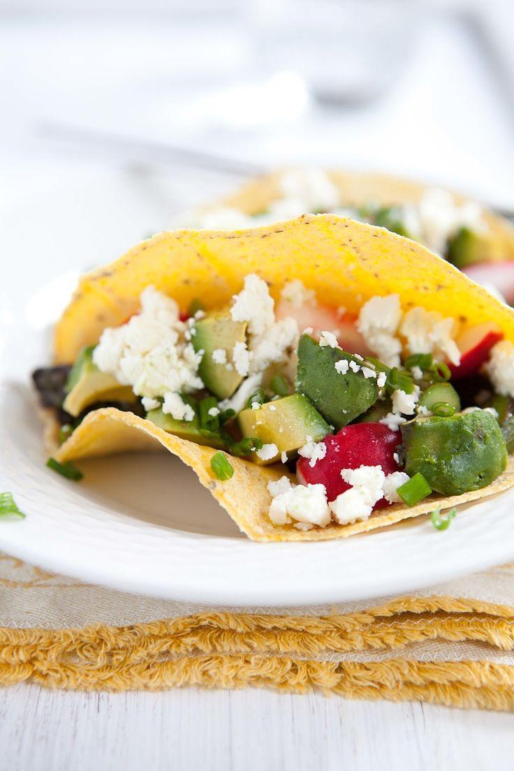 Spring Tacos with Asparagus, Pickled Radish, Avocado, and Feta