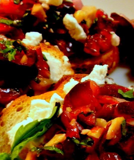 Cherry Hazelnut Bruschetta Dessert Recipe — Dishmaps