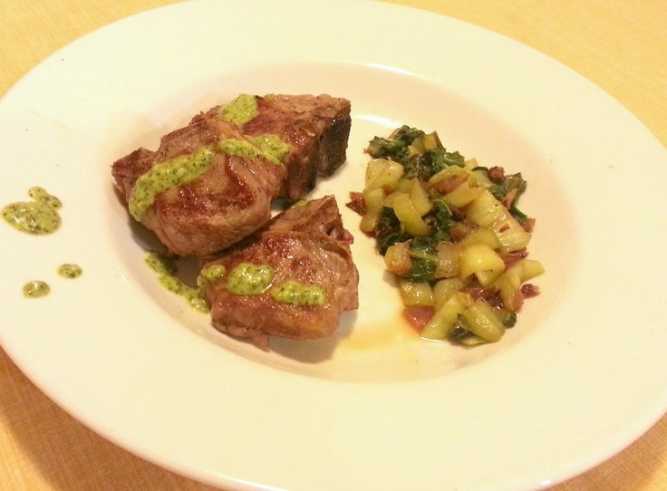 Sear-Roasted Lamb Loin Chops with Chimichurri Sauce and Sauteed Baby ...