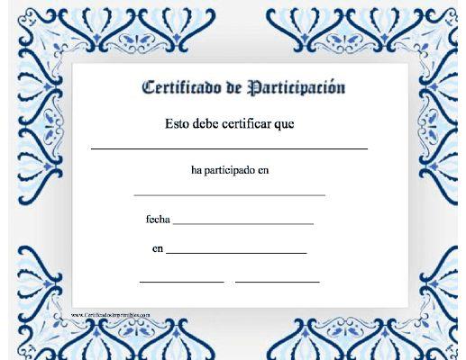 Certificados De Participacion Para Imprimir | newhairstylesformen2014 ...