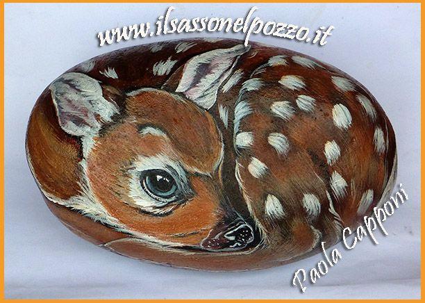 sassi dipinto : Cerbiatto dipinto su sasso. Sassi dipinti-Rock painting art- Paola ...