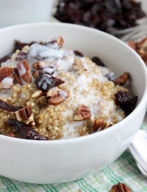 breakfast quinoa -- I have a bag of frozen quinoa and a can of lite ...