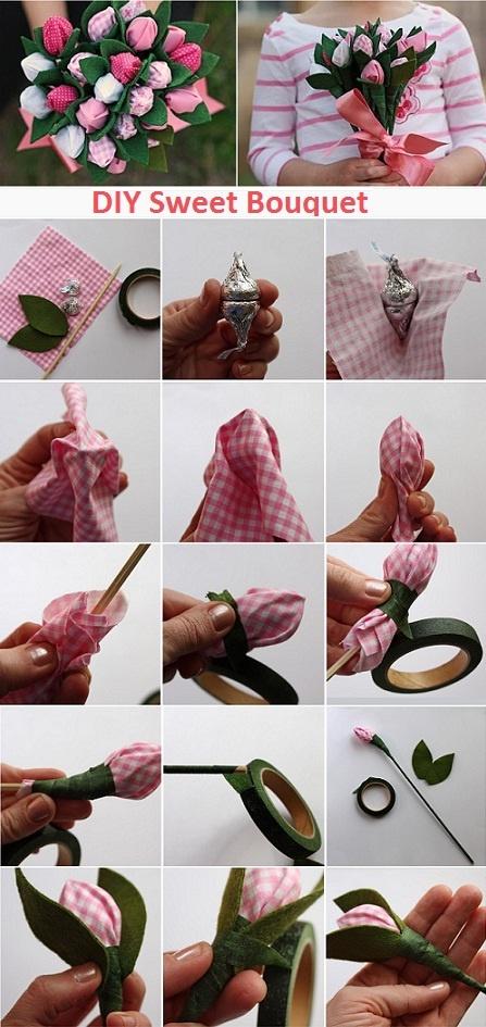 Как сделать сладкий букет из конфет